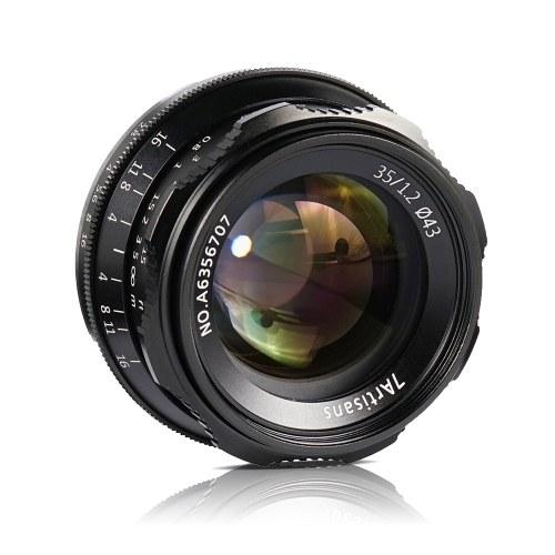 7artisans 35 мм F1.2 с ручной фокусировкой Объектив камеры с большой апертурой APS-C для Fujifilm Fuji X-A1 / X-A10 / X-A2 / X-A3 / X-AT / X-M1 / X-M2 / X-T1 / X -T10 / X-T2 / X-T20 / X-Pro1 / X-Pro2 / X-E1 / X-E2 / X-E2s FX-Mount беззеркальные камеры