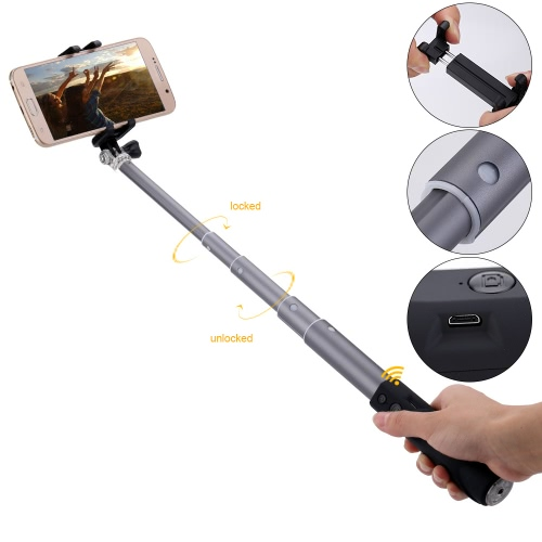 Extendable Wireless Bluetooth Remote Control Selfie Stick Portable Handheld Monopod with 1/4