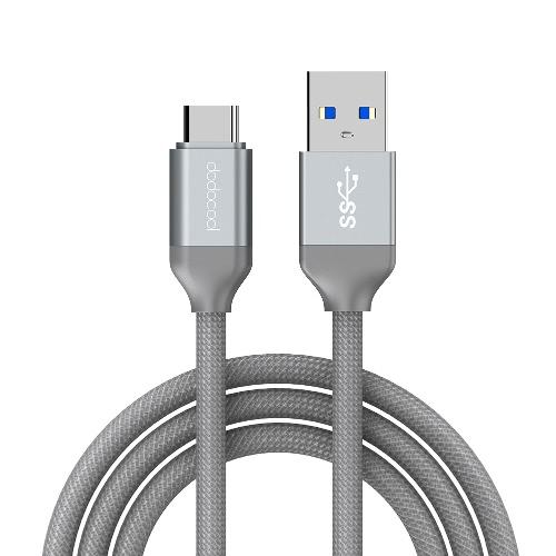 Dodocool 3.3ft / 1m Nylon Braided USB-C à USB-A 3.0 Charge de câble et synchronisation de données pour périphériques avec connexion USB-C Gris