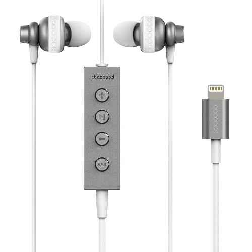 dodocool MFi Certified Hi-Res In-ear Stereo Earphone with Lightning Connector Remote and Mic - 24 bit High-Resolution Audio for Lightning Devices Space Grey