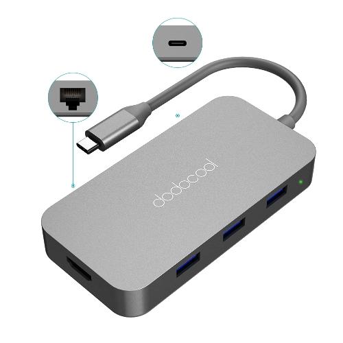 Dodocool 6-em-1 Aliança de alumínio Hub USB-C com tipo-C Alimentação 4K Vídeo Porta de Saída HD Gigabit Ethernet Adapter e 3 SuperSpeed USB 3.0 Ports
