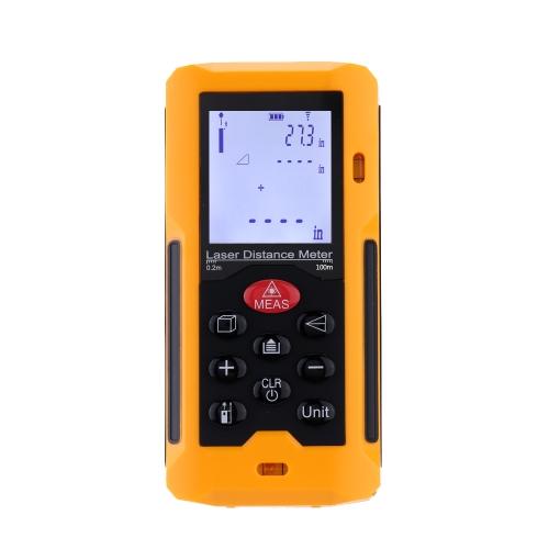 Handheld 60m/196ft Digital Laser Distance Meter Range Finder Measure Distance Area Volume Self-calibration Level Bubble