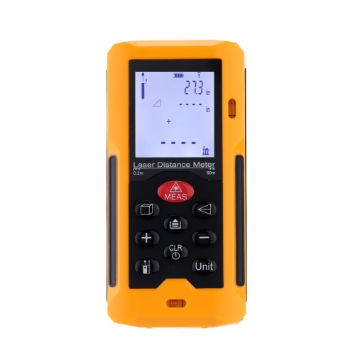 Handheld 60m/196ft Digital Laser Distance Meter Range Finder Measure Distance Area Volume Self-calibration Level Bubble
