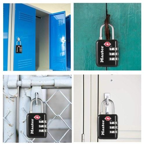 Master Lock Combination Password Padlock Gym Locker Lock Dormitory Backpack Suitcase Luggage Trunk Customs TSA Approved Lock Small Padlock Black 4631E