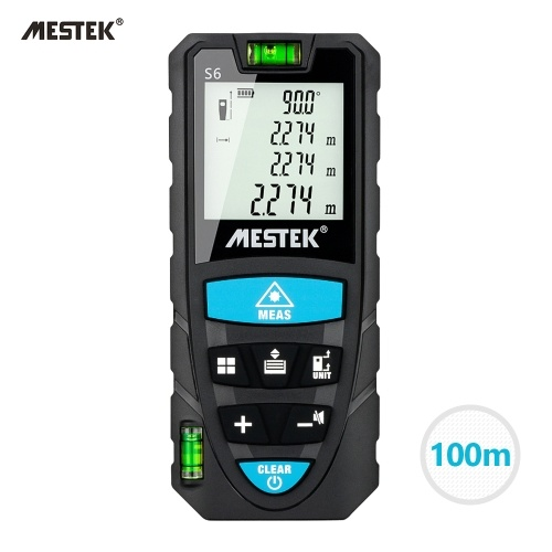 MESTEK Portable Handheld Digital Laser Rangefinder 100m Intelligent High Precision Infrared Electronic Ruler Double Physical Level Bubbles Laser Ruler Electronic Level Laser Range Finder Distance Measuring Instrument S6 Black