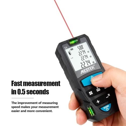 MESTEK Portable Handheld Digital Laser Rangefinder 100m Intelligent High Precision Infrared Electronic Ruler Double Physical Level Bubbles Laser Ruler