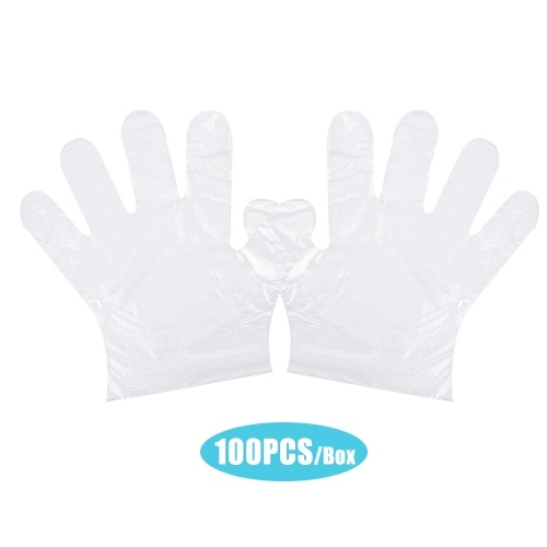 Disposable PE Gloves Single Use Transparent Gloves Latex Free Food Prep Safe Glove for Home Cleaning Restaurant Kitchen Catering Use 100PCS/Box
