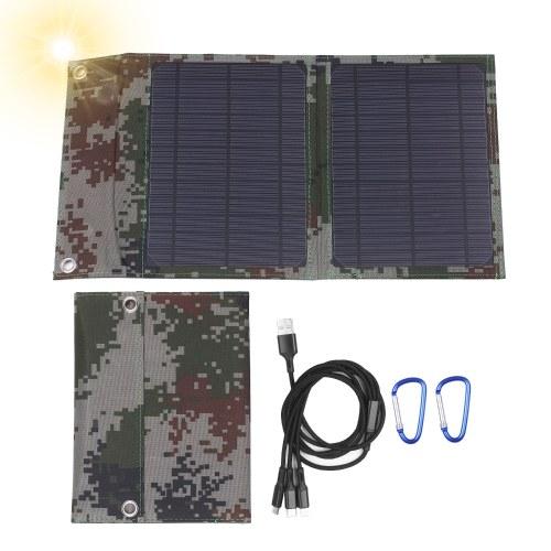 Panel solar plegable monocristalino de 12 W y 12 V con salidas USB dobles Adaptador de cable de cargador múltiple múltiple Puerto tipo C / Micro USB Compatible con tabletas de teléfonos celulares y más