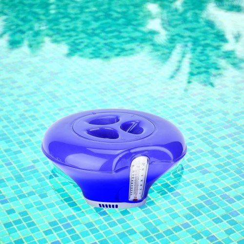 Float Dispenser Float Cup Sterilizing Pill Dispenser with Thermometer  Soap Dispensers Floating Swimming Pool Chemical Chlorine Dispenser