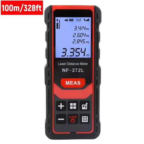 100m/328ft Rechargeable Laser Distance Meter Handheld Palm Size Distance Finder High Precision Laser Distance Measure Tool Digital LCD Range Finder with Electronic Horizontal Bubble Broadcast 99 Sets of Data Record