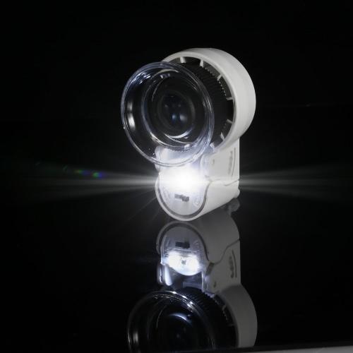 Mini Pocket Portable Handheld-45 X Zoom einstellbar Bildschirmlupe für Schmuck Antiquitäten Gems Münzen Briefmarken Währung Lupe Lupe mit LED-Licht und UV-Licht