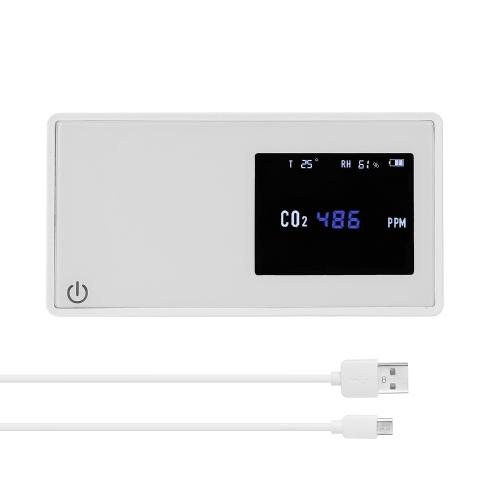 Тестер CO2 детектора качества воздуха в домашних условиях с дисплеем влажности температуры и количества электричества