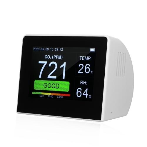 Desktop CO2 / RH / Temp. 3-in-1-Multifunktions-Luftqualitätsdetektor Temperatur-Feuchtigkeits-Monitor Innen- / Außen-CO2-Messgerät Tester 3,5-Zoll-Digital-Hygrothermograph mit wiederaufladbarer Datenlogger-Batterie für Home-Office-Fahrzeuge