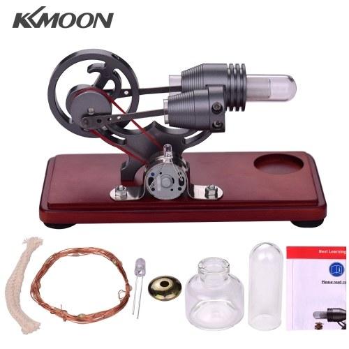 KKmoon Hot Air Stirling Engine Motor Retro Style Dollar Flywheel Design Generatore di energia elettrica con luce LED colorata Regalo creativo