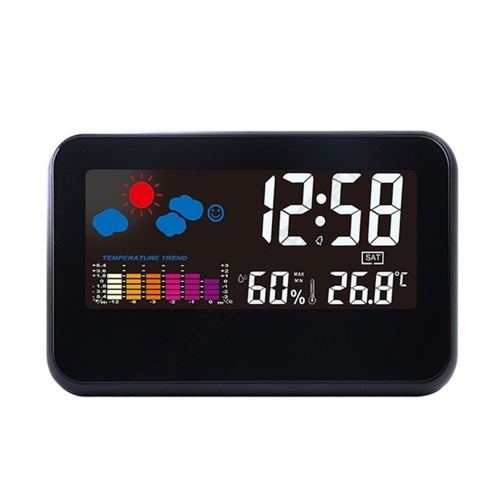 2618Tビッグカラースクリーン天気時刻日付表示目覚まし時計多機能音声制御温度湿度アラーム機能ホームツール