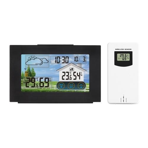 USB-Farbberührungsdisplay Digitaler Wecker Wettervorhersagestation Innen-Außen-Temperatur- und Feuchtigkeitsmesser mit 5-minütiger Schlummerfunktion
