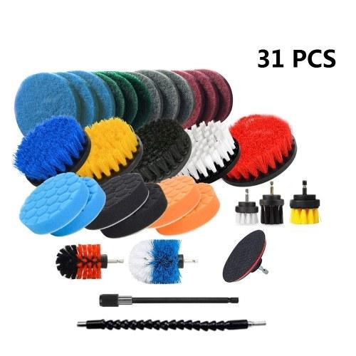31PCS Electric Drill Brush Set Includ Clean Cloth ,Scrub Pads Sponge, Power Scrubber Brush