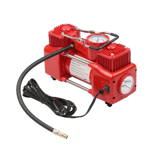 DC12V Dual Cylinder Air Compressor Portable Tire Inflator Emergency Car Air Pump with 3 Nozzles Extended Tube Carrying Case for Car Tires Bicycles Inf
