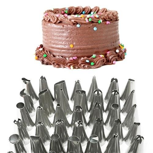 Cake Decor Stainless Steel Cake Decorating Supplies Cake Turntable 50PCS/Set DIY Cream Tools