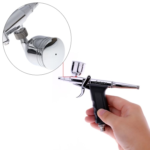 KKmoon Professional Double Action Pistol Trigger Airbrush Set with Hose 3 Tips 2 Cups for Art Painting Manicure Spray Model Air Brush Nail Tool