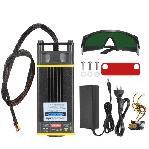 40W Laser Module Kit 450nm Blue Laser Fixed Focal Length Laser Head Cutting Module for Laser Engaver CNC Mill Wood Router 3D Printer 2 PIN 3 PIN Cable and Power Supply Included
