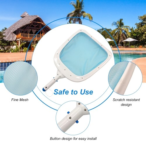 Heavy Duty Pool Leaf Skimmer Rake Net with Strong Reinforced Plastic Frame Fast Cleaning Easy Debris Pickup and Removal for Swimming Pool Hot Tub Pond Fountain