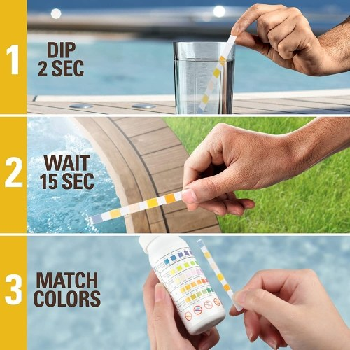 KKmoon 5-in-1 Test Strips Spa and Pool Test Strips Tester Testing Kit for Total Hardness/Total Chlorine/Free Chlorine/Bromine/pH/Total Alkalinity 50ct