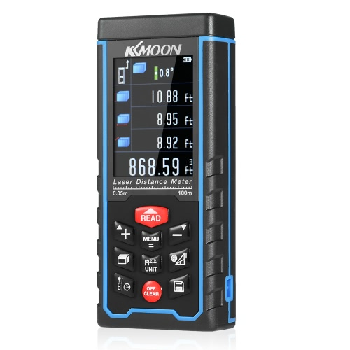 KKmoon 50m Portable Handheld Rechargeable Digital Laser Distance Meter Color Display Range Finder Diastimeter Area Volume Measurement with Angle Indication High-precision Rangefinder