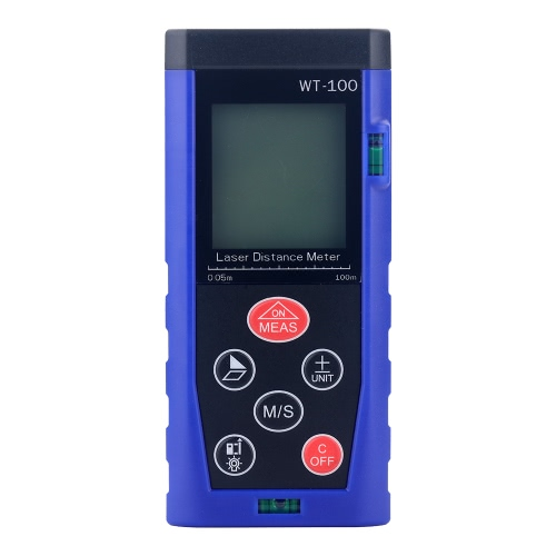 40m/131ft Portable Handheld Digital Laser Distance Meter Tool Diastimeter Area Volume Measurement Range Finder High-precision Rangefinder M/In/Ft Memory Function LCD Display Backlight Level Bubble
