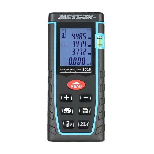 Meterk 40m 60m 80m 100m / 131ft 197ft 262ft 328ft Portable Cyfrowy ręczny dalmierz laserowy Głośność Powierzchnia wyświetlacza Funkcja pamięci pomiaru narzędzia dalmierzem Precyzyjny dalmierz M / W / Ft Przechowywanie danych LCD Backlight Bubble Level