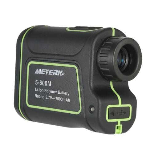 Meterk 600m / 656yd Открытый компактный портативный портативный лазерный дальномер Телескоп Цифровой 8x25 Монокулярный дальномер Высокоточный дальномер Finder M / Yard Измерение расстояния Инструмент для измерения расстояния для гольф-охоты Инженерная съемка Строительство Туризм