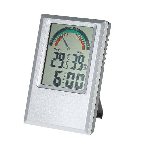 ° C / ° F Digital termómetro higrómetro Temperatura Humedad Medidor de despertador Valor Max Min nivel de comodidad de visualización