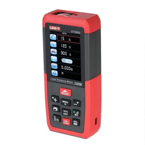 UNI-T UT395A 50m/164ft Handheld LCD Digital Laser Distance Meter Range Finder Diastimeter Distance Area Volume Measurement m/in/ft Self-calibration