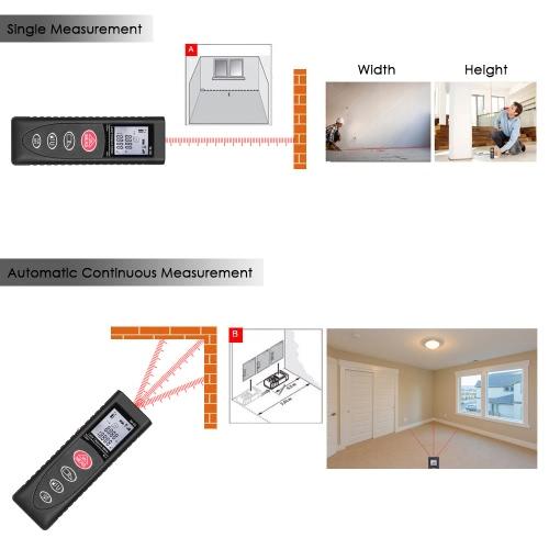 KKmoon Mini Handheld 40m / 131ft 60m / 192ft Цифровой лазерный дальномер Range Finder Диастометр Расстояние Измерение объема Высокоточный дальномер m / in / ft