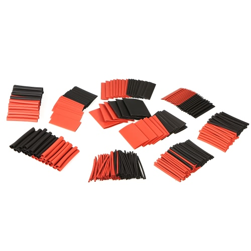 428pcs Black Red Shrinkable Tube Polyolefin Halogen-Free Heat Shrink Tubing Electrical Equipment Tube Sleeving Wrap Wire Cable Sleeve Kit Shrink Ratio 2:1 φ1.5-φ30mm