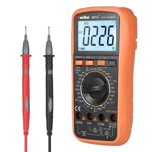 RuoShui 1999 True RMS多機能デジタルマルチメータを数えますDC AC電圧電流計付き抵抗計抵抗容量ダイオード容量測定器hFE測定連続性テストライブラインサイン波出力の識別バックライトLCDディスプレイ