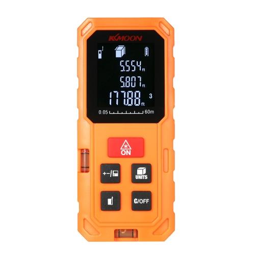 KKmoon 60mポータブルハンドヘルドデジタルレーザー距離計高精度距離ファインダー長領域体積測定VTN LCDによる20グループデータストレージ