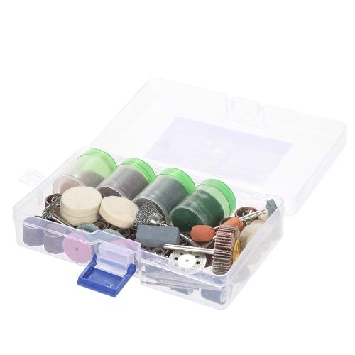 """196pcs 1/8 """"Accesorios para herramientas rotativas Shank Set lijado pulido Brochas Kit de accesorios para pulir con caja de almacenamiento para Dremel Grinder"""