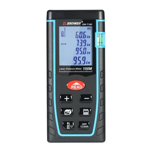 Misuratore di distanza laser digitale LCD portatile da 100 m Misuratore di distanza Area di misurazione del volume di 30 km Memoria dati a 30 gruppi