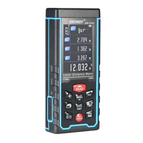 100mミニハンドヘルドLCDデジタルレーザー距離計USBレンジファインダー距離エリアボリューム測定100グループデータストレージ