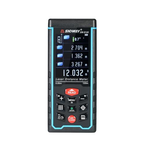 120mミニハンドヘルドLCDデジタルレーザー距離計USBレンジファインダー距離エリアボリューム測定100グループデータストレージ
