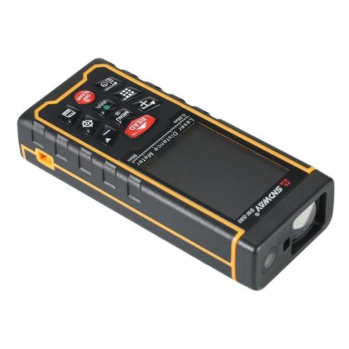 80mミニハンドヘルドLCDデジタルレーザー距離計USBレンジファインダー距離エリアボリューム測定100グループデータストレージ