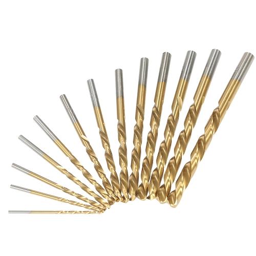 """13pcs Kits de broca de mão esquerda M2 HSS com revestimento de nitrilo de titânio (1/16 """"- 1/4"""")"""