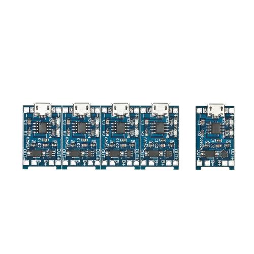 5pcs 5V 1AマイクロUSB 18650リチウム電池充電+保護回路ボード充電器モジュール