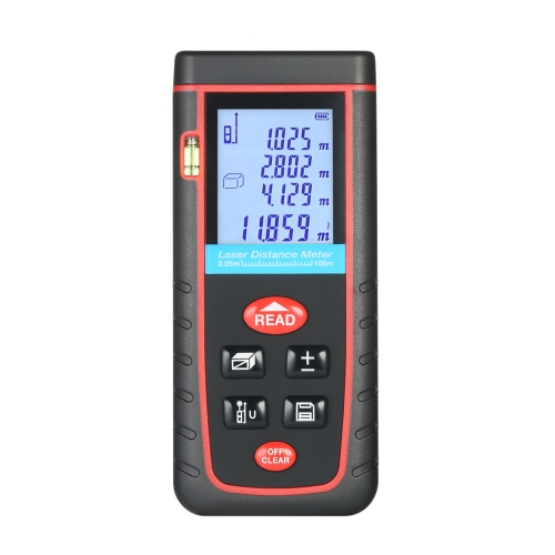 100m Mini Handheld LCD Digital Laser Distance Meter High-precision Rangefinder Distance Area Volume Measurement 30 Groups Data Storage