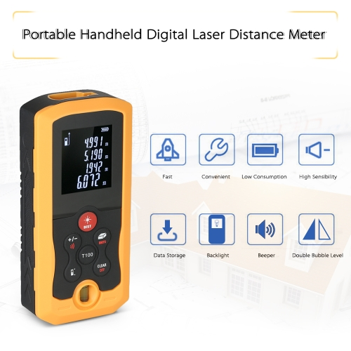 100m Mini Hand-held LCD Digital Laser Distance Meter Range Finder Distance Area Volume Measurement 10 Groups Data Storage