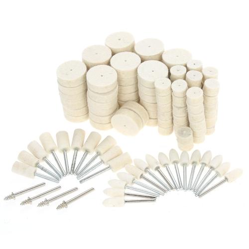129pcs Ferramentas de polimento de roda de polimento abrasivo Acessórios de lustre de superfície de metal em feltro de lã para ferramenta giratória Dremel