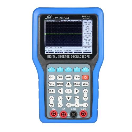 Multi-functional Handheld Digital Storage Oscilloscope 2 Channels Scope Meter 30MHz 250MSa/s Multimeter with Signal Generator