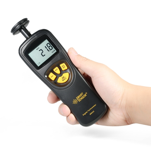 SMART SENSOR Handheld Contact LCD Digital Tachometer Speedometer Tach Meter Wide Measuring Rang 0.5 ~ 19999 RPM