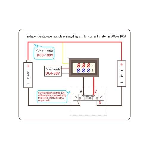 DC 0-100V 10A Dual LED Display Digital Voltmeter Ammeter Voltage AMP Power